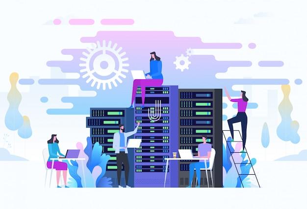 Los administradores del sistema o los administradores del sistema están prestando servicio a los racks de servidores.