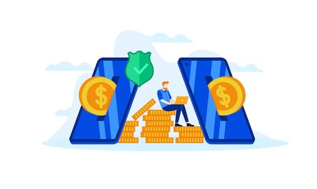 Administrar las finanzas, ahorrar para futuras inversiones con banca móvil