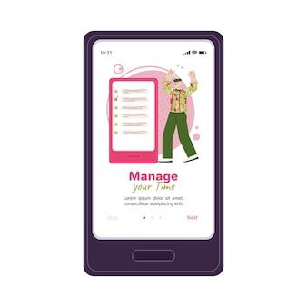Administre su tiempo hombre de dibujos animados de plantilla de aplicación de teléfono con lista de tareas pendientes