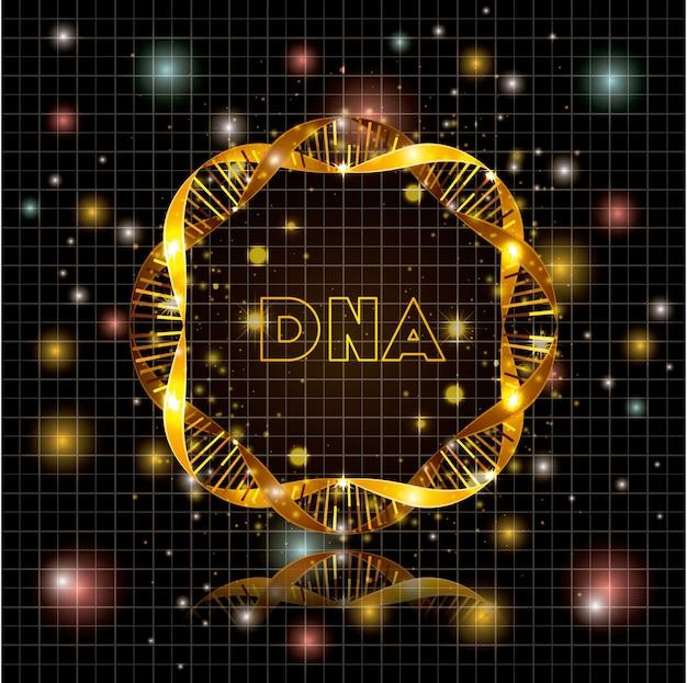 Adn molécula estructura circular dorada
