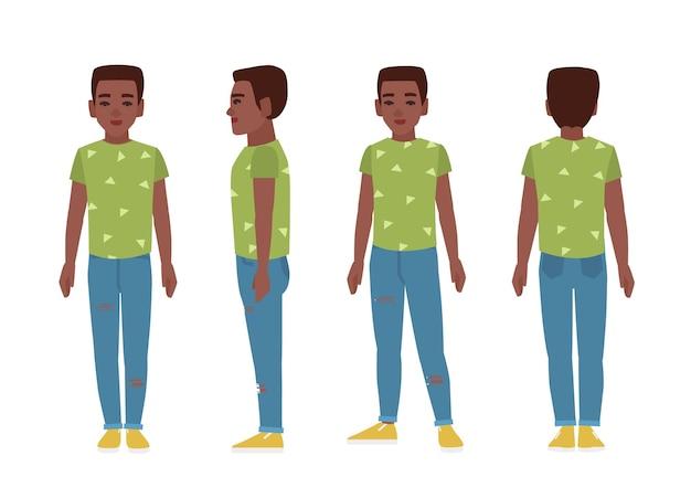 Adolescente afroamericano o adolescente vistiendo pantalones vaqueros rasgados azules, camiseta verde y slip-ons. personaje de dibujos animados plano aislado sobre fondo blanco. vistas frontal, lateral y trasera. ilustración vectorial.