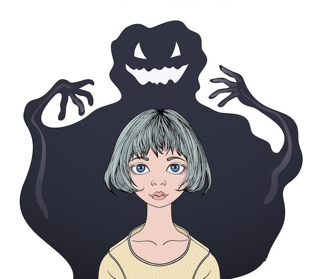 Adolescente asustada delante de un monstruo fantasma.