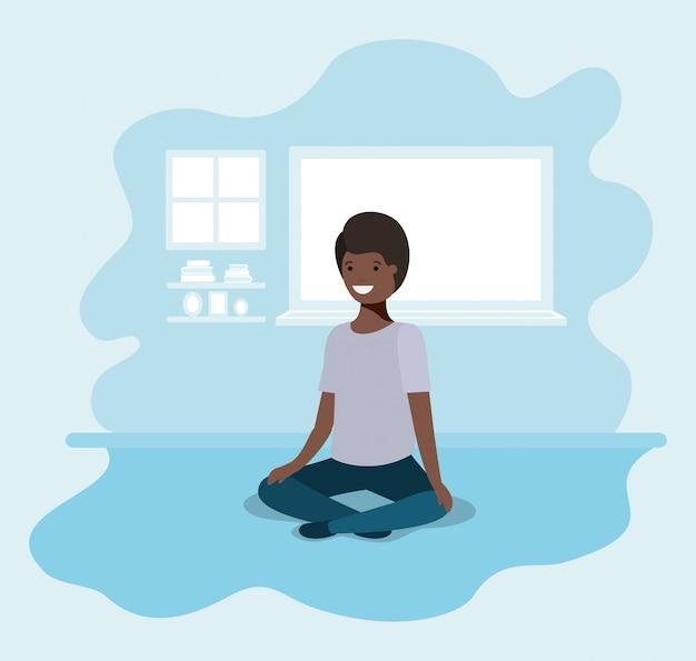 Adolescente chico negro sentado personaje de avatar