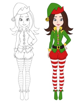 Adolescente de dibujos animados con traje de duende de navidad.
