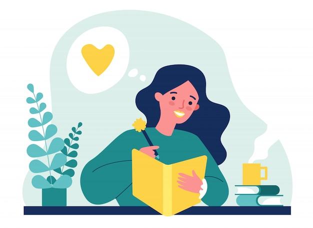 Adolescente escribiendo diario o diario