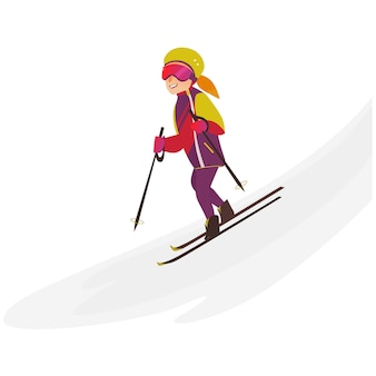 Adolescente feliz esquí alpino, deporte de invierno