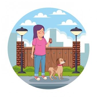 Adolescente en el icono redondo de dibujos animados de la ciudad