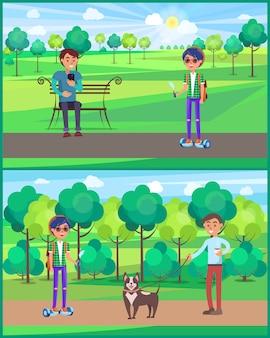 Adolescente, jóvenes, hombres, personas, en, parque, conjunto, ilustración