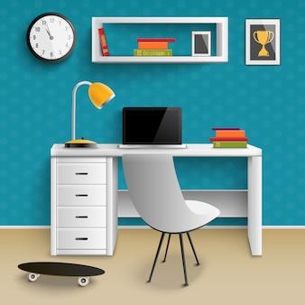 Adolescente lugar de trabajo interior realista