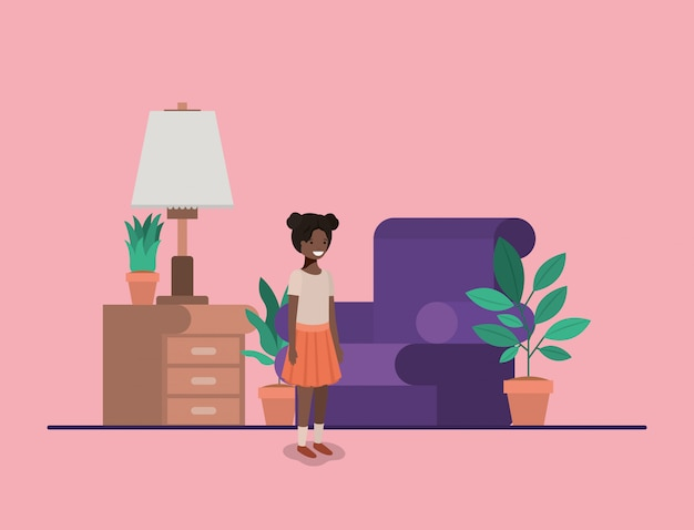 Adolescente niña negra en salón