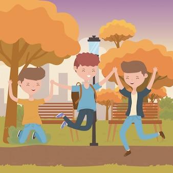 Adolescente niños dibujos animados
