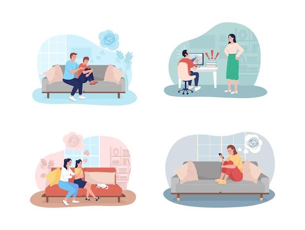 Adolescente problemas 2d conjunto de ilustraciones aisladas. apoyo de los padres al niño.
