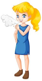 Una adolescente que fuma en el fondo blanco