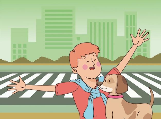 Adolescente sonriendo y paseando al perro de dibujos animados