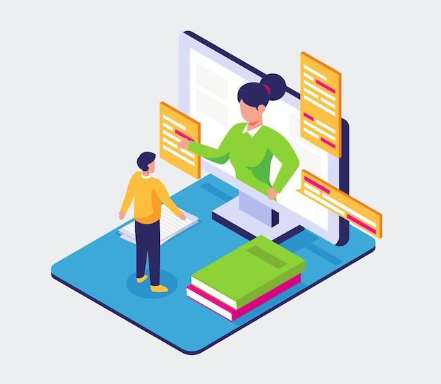 Adolescente visual lee un libro en el teléfono móvil para educar, aprender el concepto en línea, diseño de ilustración isométrica