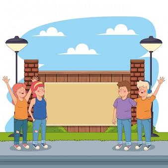 Adolescentes amigos divirtiéndose caricaturas