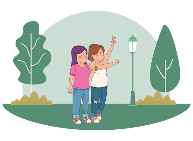 Adolescentes amigos sonriendo y divirtiéndose dibujos animados