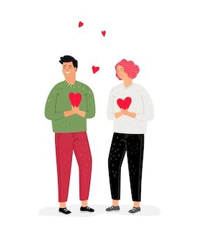Adolescentes enamorados. chica y chico con corazones en manos