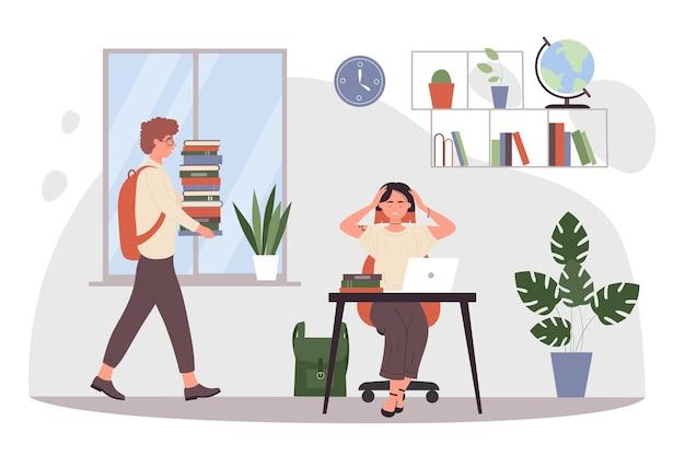 Los adolescentes estudiantes estudian en casa juntos ilustración vectorial. niño de dibujos animados con pila de libros, personaje de niña agotada sentada en el escritorio con computadora portátil y libro de texto, estudiando mucho antes del examen