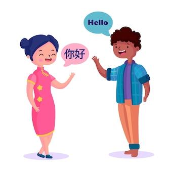 Adolescentes hablando en diferentes idiomas.