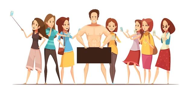 Adolescentes haciendo fotos con aparatos electrónicos de modelo masculino en ilustración vectorial de dibujos animados retro de arte