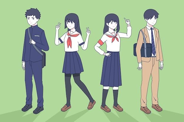 Adolescentes japoneses de pie estilo manga