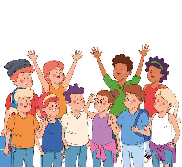 Adolescentes niños y niñas dibujos animados
