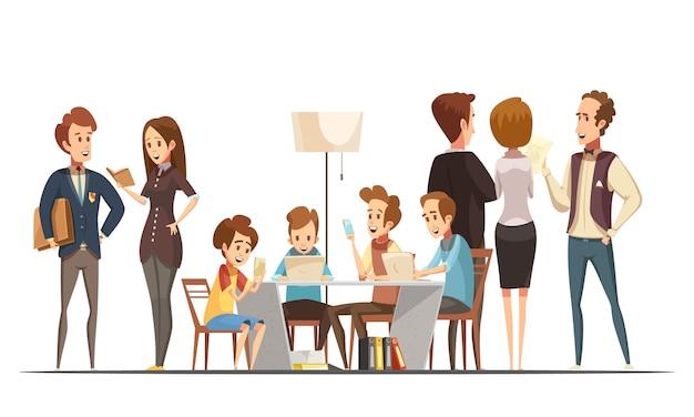 Adolescentes sentados con computadoras portátiles y teléfonos inteligentes en la ilustración de dibujos animados retro del centro educativo de medios de comunicación, ilustración vectorial
