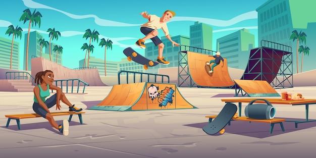 Adolescentes en skate park, rollerdrome realizan acrobacias de salto en patineta en rampas de cuarto y medio tubo ilustración