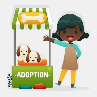 Adopta un concepto de mascota con ilustración de mujer y perros