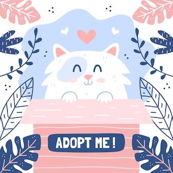 Adopta un lindo gatito en una caja
