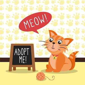 Adopta un mensaje de concepto de mascota con gato ilustrado