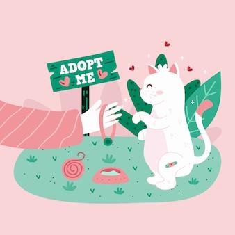 Adopta un mensaje de concepto de mascota con lindo gatito