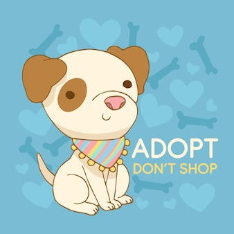 Adopta un mensaje de concepto de mascota con lindo perro ilustrado