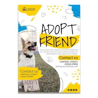 Adopta un póster de mascota con foto vector gratuito