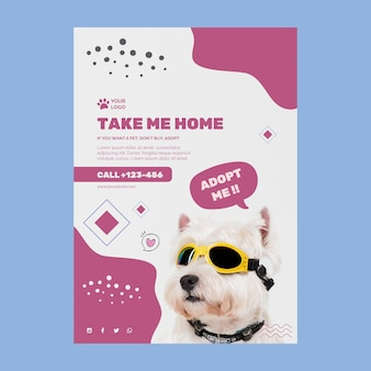 Adoptar un cartel de plantilla de mascota