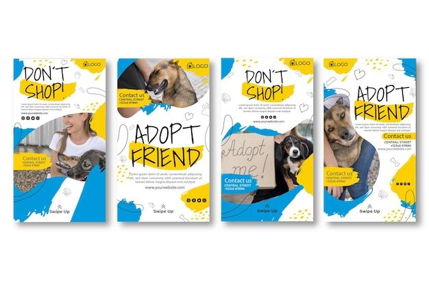 Adoptar un conjunto de historias de instagram de mascotas