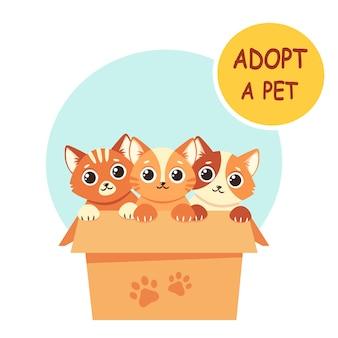 Adoptar una mascota. lindos gatitos en la caja. ilustración en estilo plano.