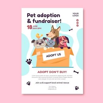 Adoptar una mascota de plantilla de póster de refugio