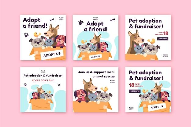Adoptar una mascota de plantilla de publicación de instagram de refugio Vector Premium