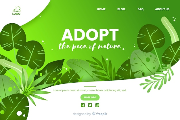 Adoptar la plantilla web de la paz de la naturaleza
