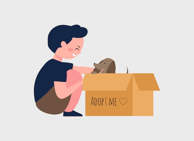 Adopte un concepto de mascota con ilustración de dibujos animados de niño y perro. lindo perrito dentro de una caja de cartón con texto adoptame