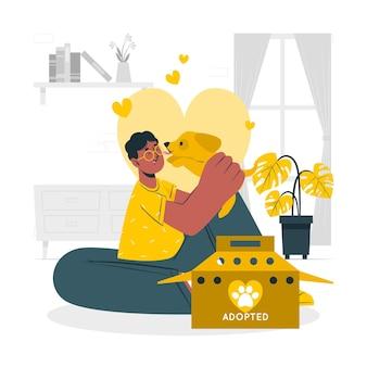 Adopte una ilustración del concepto de mascota