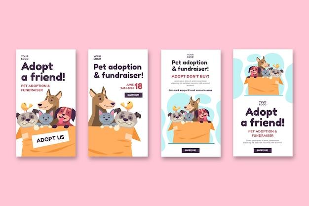 Adopte una mascota de la plantilla de historias de instagram del refugio