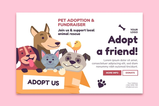 Adopte una mascota de la plantilla de página de destino del refugio