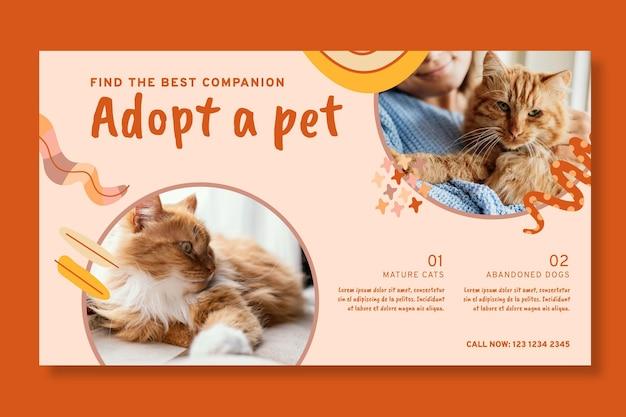 Adopte una plantilla de banner para mascotas vector gratuito