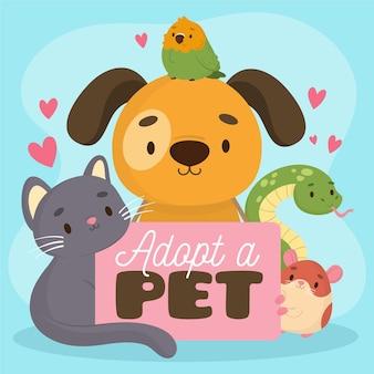 Adorable adoptar una ilustración de mascota