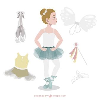 Adorable bailarina con accesorios