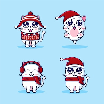 Adorable bebé gato tema navidad mascota conjunto de dibujos animados plantilla