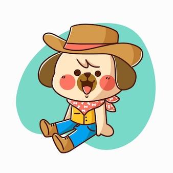 Adorable cachorro jugando con carácter vaquero ilustración doodle activo